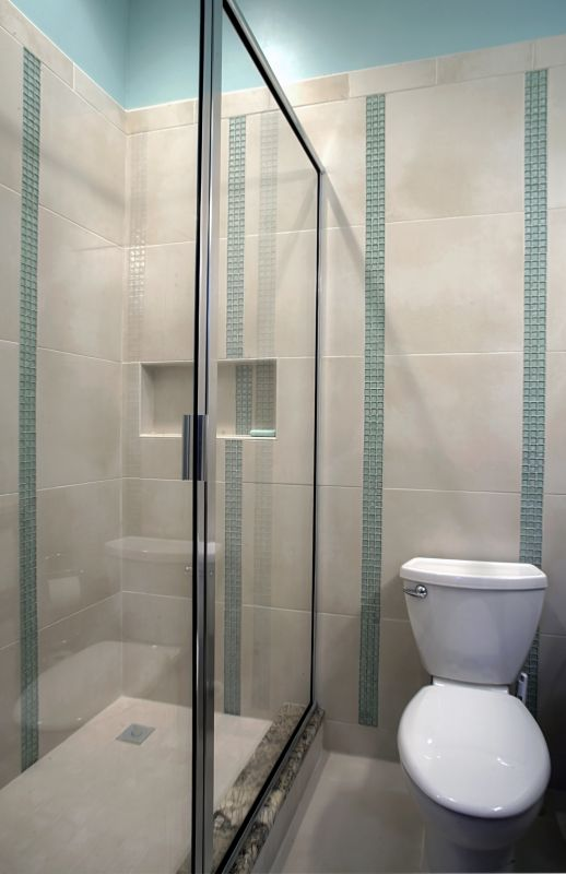 glass shower door in tricky spaces